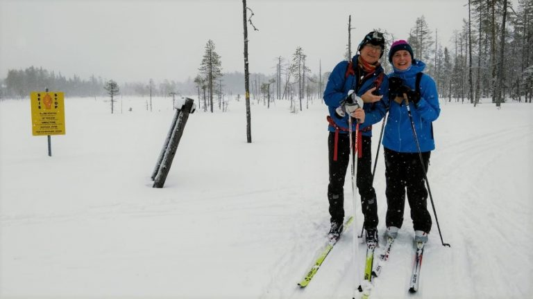 Skiers on the Russian border.