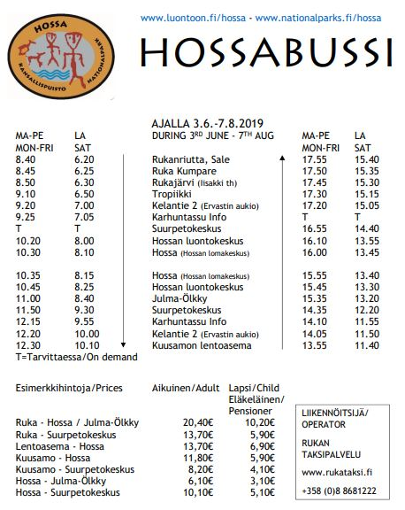 Timetable bus from Kuusamo to Hossa National Park